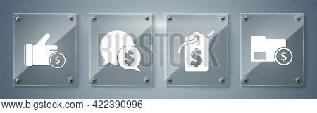 Set Envelope With Coin Dollar, Price Tag With Dollar, Speech Bubble With Dollar And Hand Holding Coi