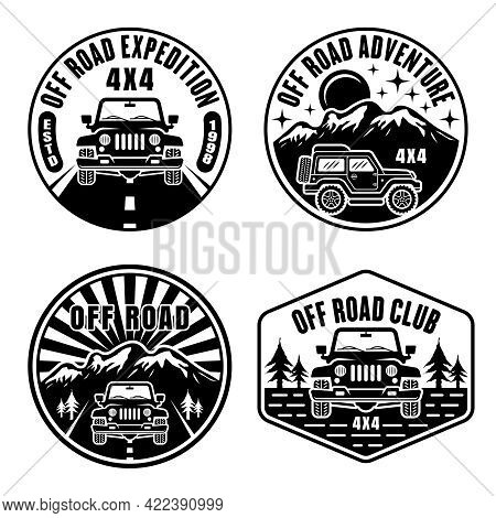 Off Road And Suv Car Set Of Vector Emblems, Badges, Labels Or Logos In Vintage Monochrome Style Isol