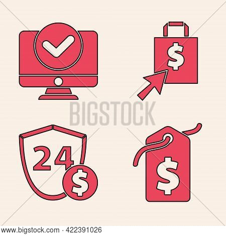 Set Price Tag With Dollar, Computer Monitor, Shoping Bag And Dollar And Shield With Dollar Icon. Vec