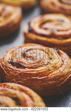 Freshly baked buns with cinnamon and spices. Close-up. Sweet baking concept