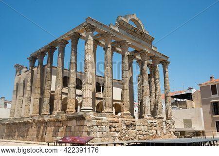 Temple Of Diana. Roman Forum At Merida, Extremadura, Spain, Europe