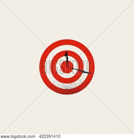 Business Woman Success And Hitting Target Vector Concept. Symbol Of Completing Objective, Achievment