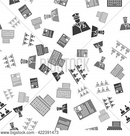 Set Police Officer, Lawsuit Paper, Jurors And Retro Typewriter On Seamless Pattern. Vector