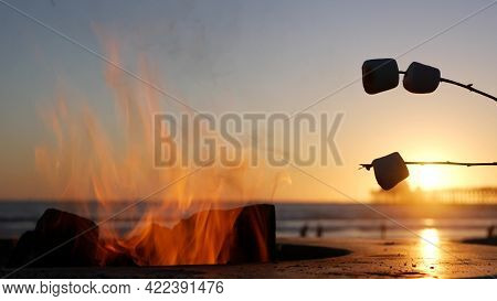 Campfire Pit By Oceanside Pier, California Usa. Camp Fire On Ocean Beach, Bonfire Flame In Cement Ri