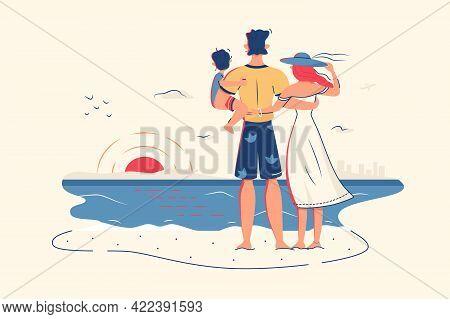 Family Enjoy Ocean View On Beach Vector Illustration. Vacation, Look On Sunset Flat Style. Summer, T