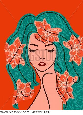 Charming And Sensual Woman With Floral Hair In Turquoise And Orange Hues