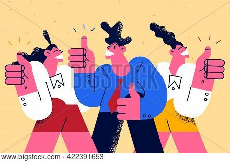 Best Corporate Service, Human Resources Concept. Business Leaders People Cartoon Characters Standing