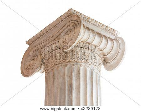 Classical Column Capital On White