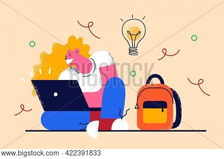 Having Creative Ideas And Freelance Concept. Young Woman Cartoon Character Sitting On Floor With Lap