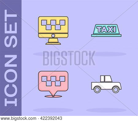 Set Car, Computer Call Taxi Service, Location With And Taxi Car Roof Icon. Vector