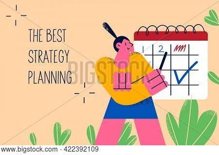 Business Best Strategy Planning Concept. Positive Woman Worker Manager Cartoon Character Standing An