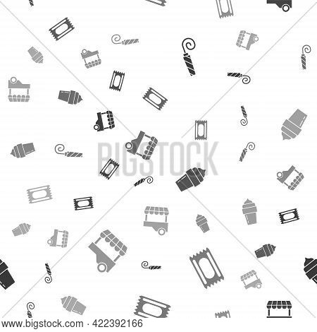 Set Birthday Party Horn, Circus Ticket, Ice Cream And Fast Street Food Cart On Seamless Pattern. Vec