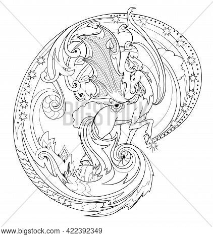 Black And White Page Coloring Book. Fantasy Illustration Of Pegasus From Ancient Legend. Fairyland H
