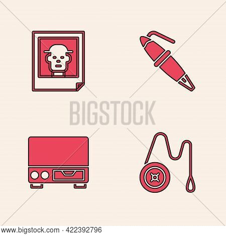 Set Yoyo Toy, Photo, Fountain Pen Nib And Old Video Cassette Player Icon. Vector