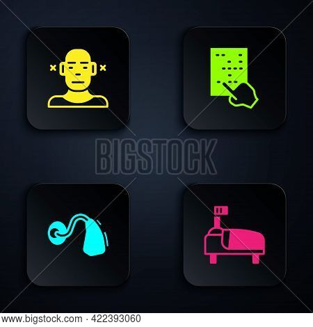 Set Hospital Bed, Deaf, Hearing Aid And Braille. Black Square Button. Vector