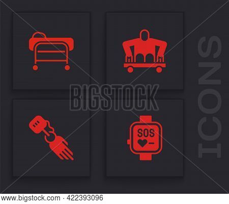 Set Smart Watch, Stretcher, Man Without Legs Sitting Wheelchair And Prosthesis Hand Icon. Vector