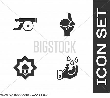 Set Wudhu, Ramadan Cannon, Muslim Mosque And Hands In Praying Position Icon. Vector