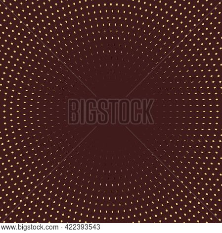 Geometric Modern Vector Pattern. Brown And Golden Ornament With Dotted Elements. Geometric Abstract