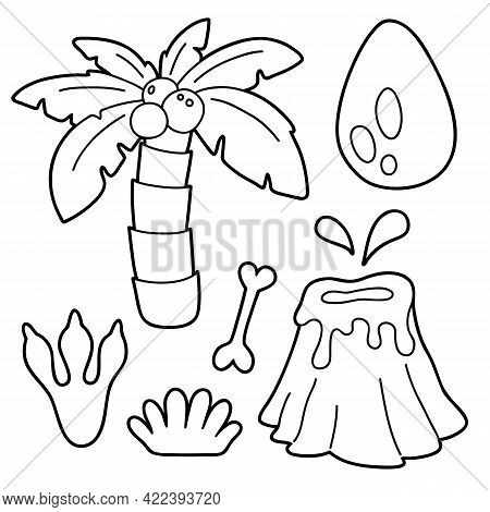 Vector Illustration Coloring Page With Cartoon Prehistoric Set For Children, Coloring And Scrap Book