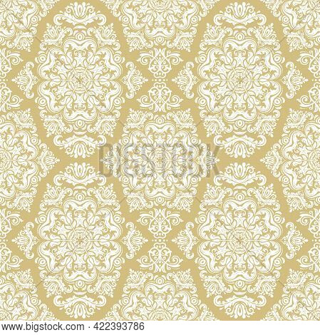 Orient Vector Classic Pattern. Seamless Abstract Background With Golden And White Vintage Elements.