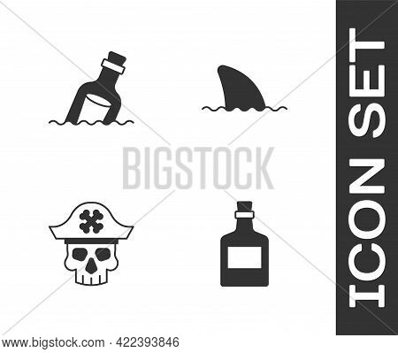 Set Alcohol Drink Rum, Bottle With Message Water, Pirate Captain And Shark Fin Ocean Wave Icon. Vect