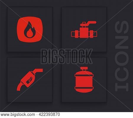 Set Propane Gas Tank, Fire Flame, Metallic Pipes And Valve And Gasoline Pump Nozzle Icon. Vector