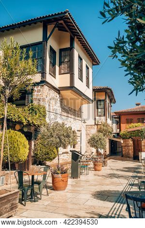 Architecture of Antalya old town Kaleici, Turkey. Old ottoman houses and cozy narrow street in Antalya old town