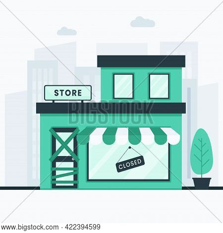 Store Bankrupt And Closed Illustration Concept. This Design Can Be Used For Websites, Landing Pages,