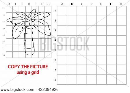 Vector Illustration Of Grid Copy Educational Puzzle Game With Cartoon Palm Tree For Children