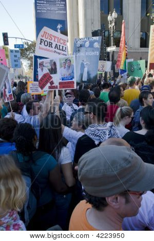Proposition 8 Protest And March In Los Angeles