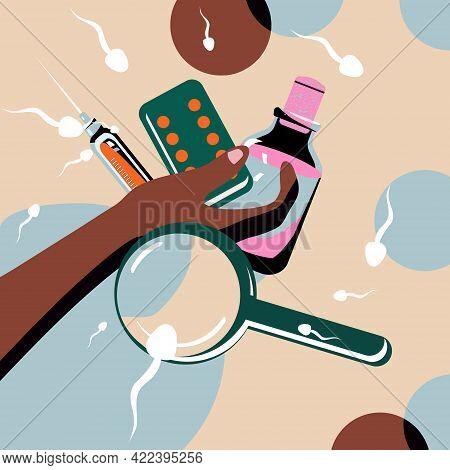 Birth Control Pill Concept.world Contraception Day. Prevention Hiv And Aids.spermatozoa Swim Around.