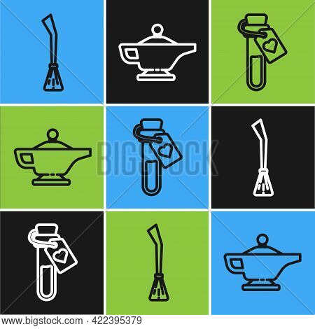 Set Line Witches Broom, Bottle With Love Potion And Magic Lamp Or Aladdin Icon. Vector