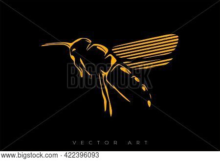 Vector Illustration Of A Flying Bee On A Black Background. Modern Wall Art Or Poster.