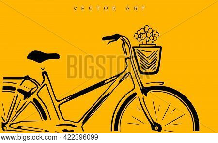 Vector Illustration Of A Bicycle With Flowers In A Basket. Modern Wall Art, Poster Or Banner. The Co