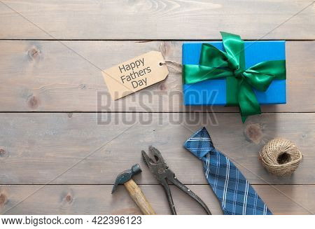 Fathers Day Gift Box Wrapped With Ribbon