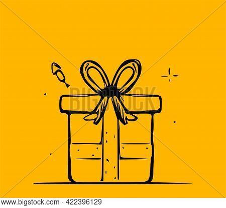 Vector Doodle Illustration Of A Gift Box On A Yellow Background.