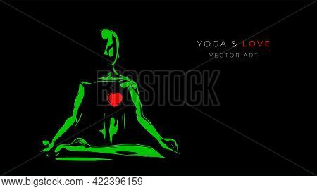 The Concept Of Yoga And Love. Vector Illustration Of A Guy Sitting In Lotus Pose. Image Of A Man Doi