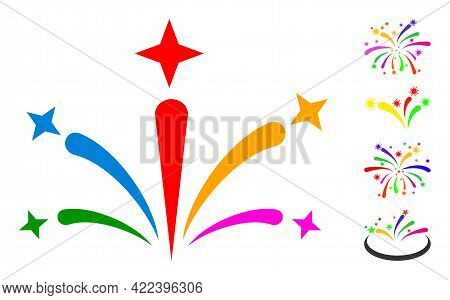 Salute Fireworks Icon With Flat Style. Isolated Vector Salute Fireworks Icon Illustrations On A Whit