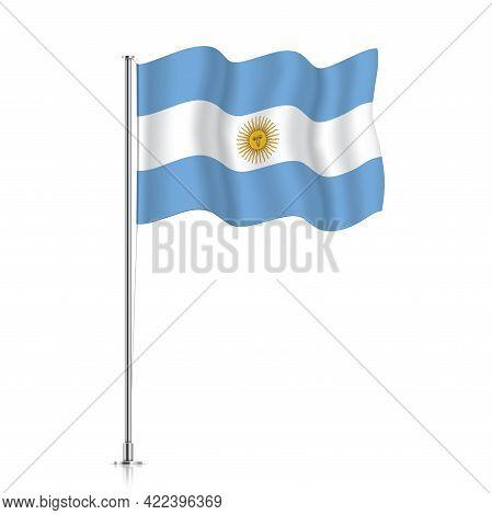 Argentina Flag Waving On A Metallic Pole.