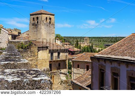 Aerial View Of An Old Town With Its Romanesque Church And Its Stone Wall. Sepulveda Segovia.