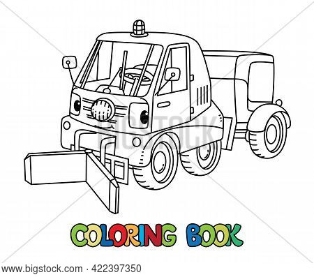 Funny Small Municipal Car With Eyes Coloring Book