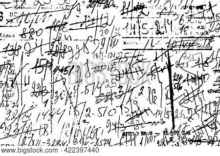 Grunge Texture Of Illegible Sloppy Notes With Calculations And Smudges. Monochrome Background Of An