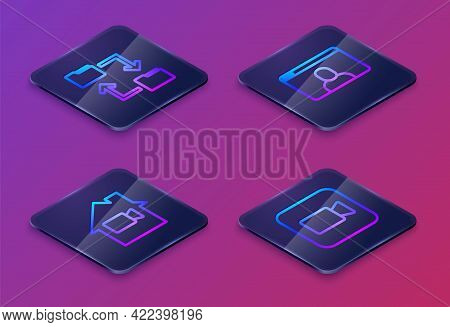 Set Isometric Line Cloud Storage Document Folder, Video Camera Off In Home, Chat Conference And Came