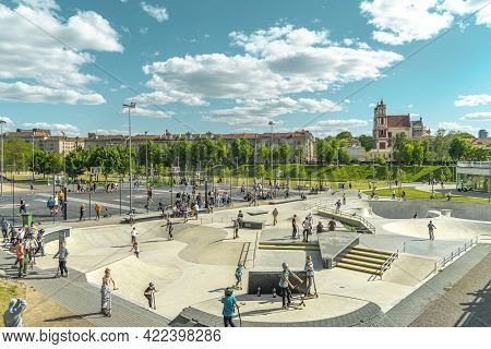 Vilnius, Lithuania - May 30, 2021: Outdoor Sport Activities, Leisure Entertainment In Modern White B