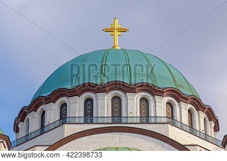 Saint Sava Orthodox Christian Church Dome With Big Golden Cross
