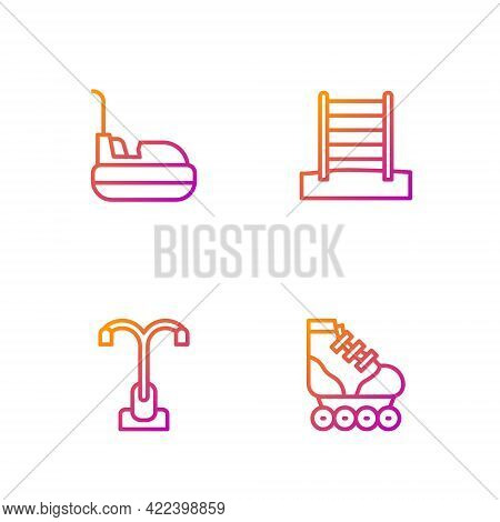 Set Line Roller Skate, Street Light, Bumper Car And Swedish Wall. Gradient Color Icons. Vector