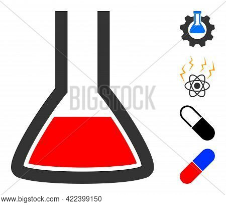 Chemical Flask Icon With Flat Style. Isolated Vector Chemical Flask Icon Image On A White Background