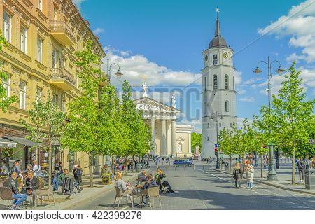 Vilnius, Lithuania - May 30, 2021: View To Main Vilnius City Street - Gedimino Avenue, Vilnius Cathe