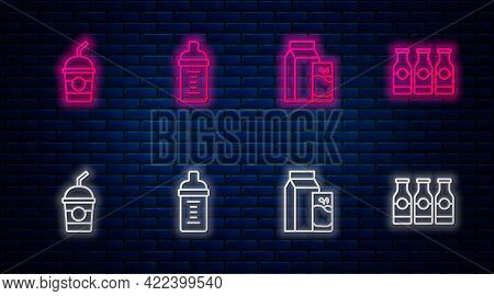 Set Line Baby Milk In A Bottle, Paper Package For Kefir, Milkshake And Bottle With. Glowing Neon Ico