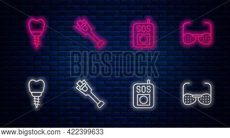 Set Line Prosthesis Leg, Press Sos Button, Dental Implant And Blind Glasses. Glowing Neon Icon On Br